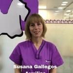 SUSANA GALLEGOS <BR />Tras dedicarse profesionalmente a la hosteleria, empezó a interesarle el trabajo con animales por lo que se sacó el título de ATV . Tras la realización de las práctias en nuestro Hospital terminó formando parte del equipo de auxiliares de día  en Mayo del 2017.